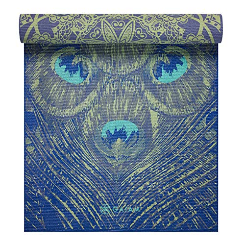 Gaiam Yoga Mat Premium Print Reversible Extra Thick Non Slip Exercise & Fitness Mat for All Types of Yoga, Pilates & Floor Exercises, Peacock Lace, 5/6mm