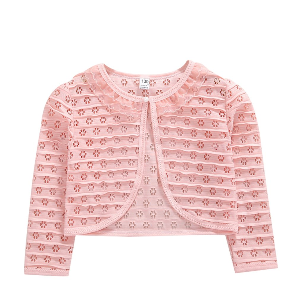 Little Girls' Long Sleeve Lace Solid Colors Button Closure Bolero Cardigan Shrug Dress Cover Up LZ-Sweater-01
