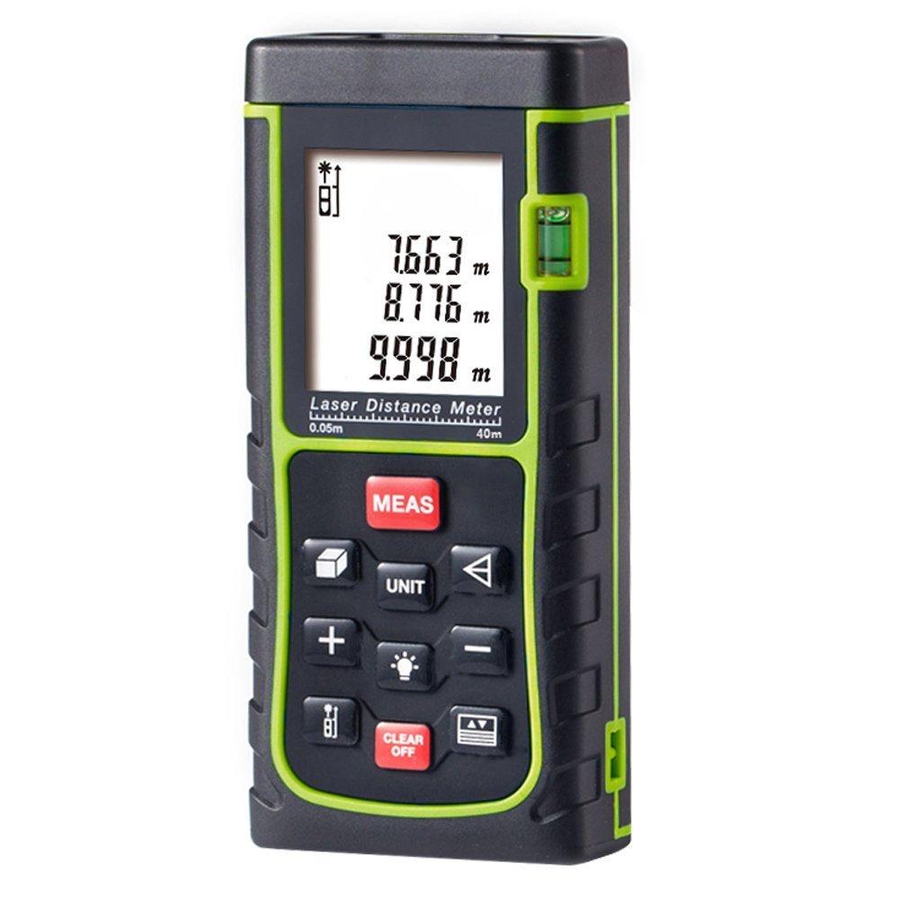 Medidor Láser de Distancia, GRDE Telémetro Láser 40 - 100M, Medidor de Metros con Unidades de Medición Ajustables entre M / In / Ft, Distanciómetro Láser con Baterías AAA Incluídas (E40)