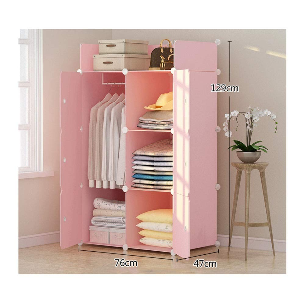 PPKQ Large Portable Wardrobe Storage Closet Clothes 4 Side Pockets,Pink Wardrobe Closet Organizer (Size : B) by PPKQ