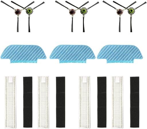 Sansee - Juego de accesorios para robot aspirador Ecovacs Robotics DEEBOT Slim10, 6 cepillos laterales, 4 filtros y 3 fregonas, compatible con ECOVACS DEEBOT Slim10 Robot Vacuum (13 piezas): Amazon.es: Hogar
