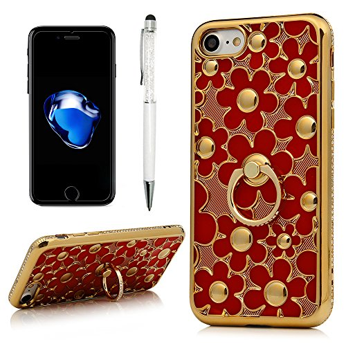 For iPhone 7, iPhone 8 Case, Daisy Flower Series Skin with Bling Diamonds Frame Ultra Slim Crystal TPU Rubber Protective Shock Absorption Skin Cover with Ring Holder Kickstand by YOKIRIN, - Cover Crystal Skin