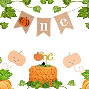 Set of 2 Pumpkin 1st Birthday decoration Pumpkin First Birthday Banner Pumpkin Birthday Decorations Pumpkin Baby Shower Fall 1st Birthday Party Decor Little Pumpkin One Banner for Fall Highchair Party Decoration