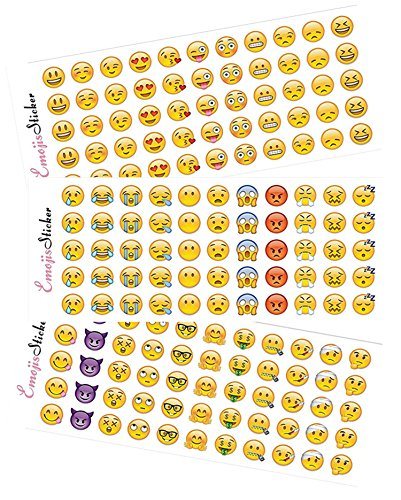 Happy Emoji Stickers 12 Sheets with Same Faces Christma Kids Stickers from iPhone Facebook Twitter (Tattoo Maker For Kids)