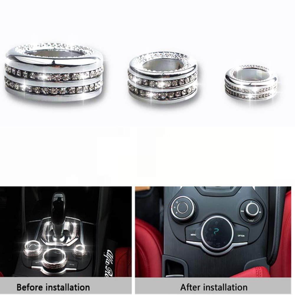 NIUHURU Car Interior Trim Accessories for Alfa Romeo Giulia Stelvio Bling Accessories Crystal Diamond 3D Decals Decoration Accessories for Women Ignition Start Button Sticker 1pc