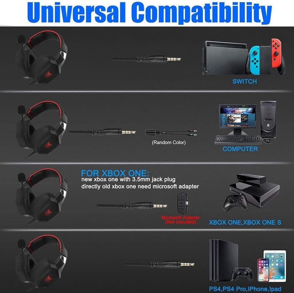 Nobrand 3.5mm USB Stereo Bass Competitive Gaming Headset E-Sports Wired Headphone with Mic Black red