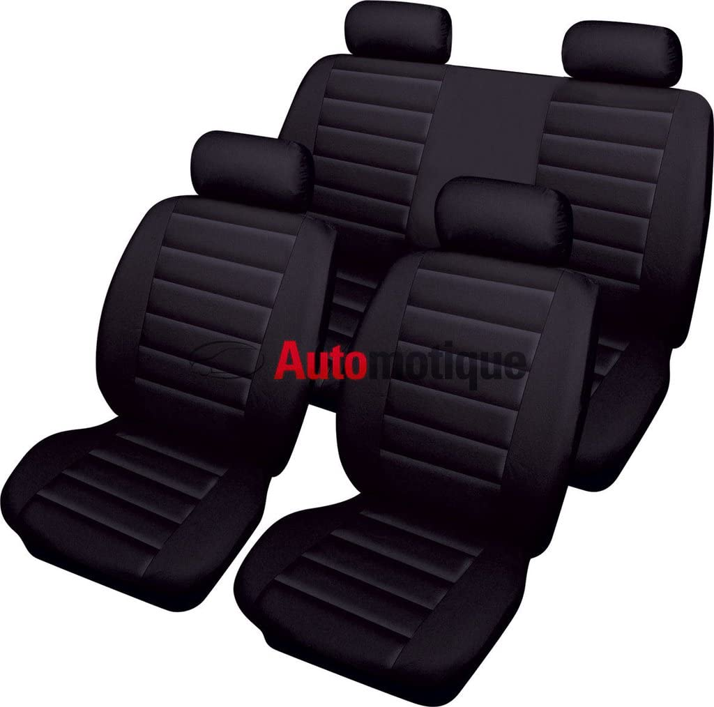 Automotique Vectra SRI Leather Look Full SEAT Cover Set Black 05-08
