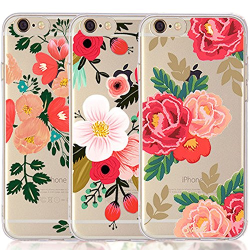 iPhone 5 5S SE Case, [3-Pack] CarterLily Watercolor Flowers Floral Pattern Soft Clear Flexible TPU Back Case for iPhone 5 5S SE - Red Flowers (Flowers A)