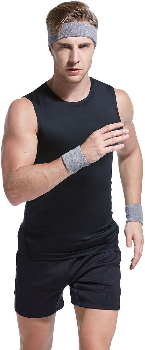 VENI MASEE Sweatband Set Sports Headband Wrist Striped Sweatbands Terry Cloth Wristband Athletic Exercise Basketball Wrist Sweatband and Headbands Moisture Wicking Sweat Absorbing Head Band