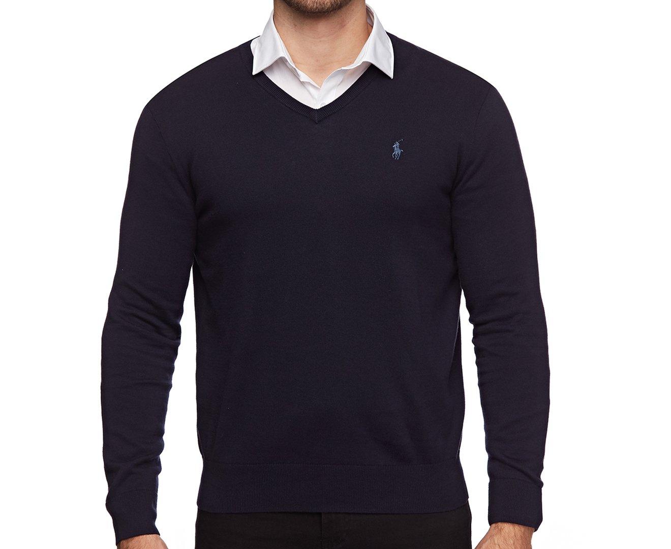 df367384e1df5e Polo Ralph Lauren Mens Pima Cotton V-Neck Sweater FallRoyal, M at Amazon  Men's