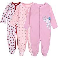 Baby Boys Footed Pajamas-3 Packs Infant Newborn Long Sleeve Rompers Sleeper-Exemaba