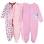 Baby Girl Footed Pajamas- Soft Long Sleeve Jumpsuit 3-Pack Snug-Fit Cotton Infant Footed Pajamas (4-6 Months)