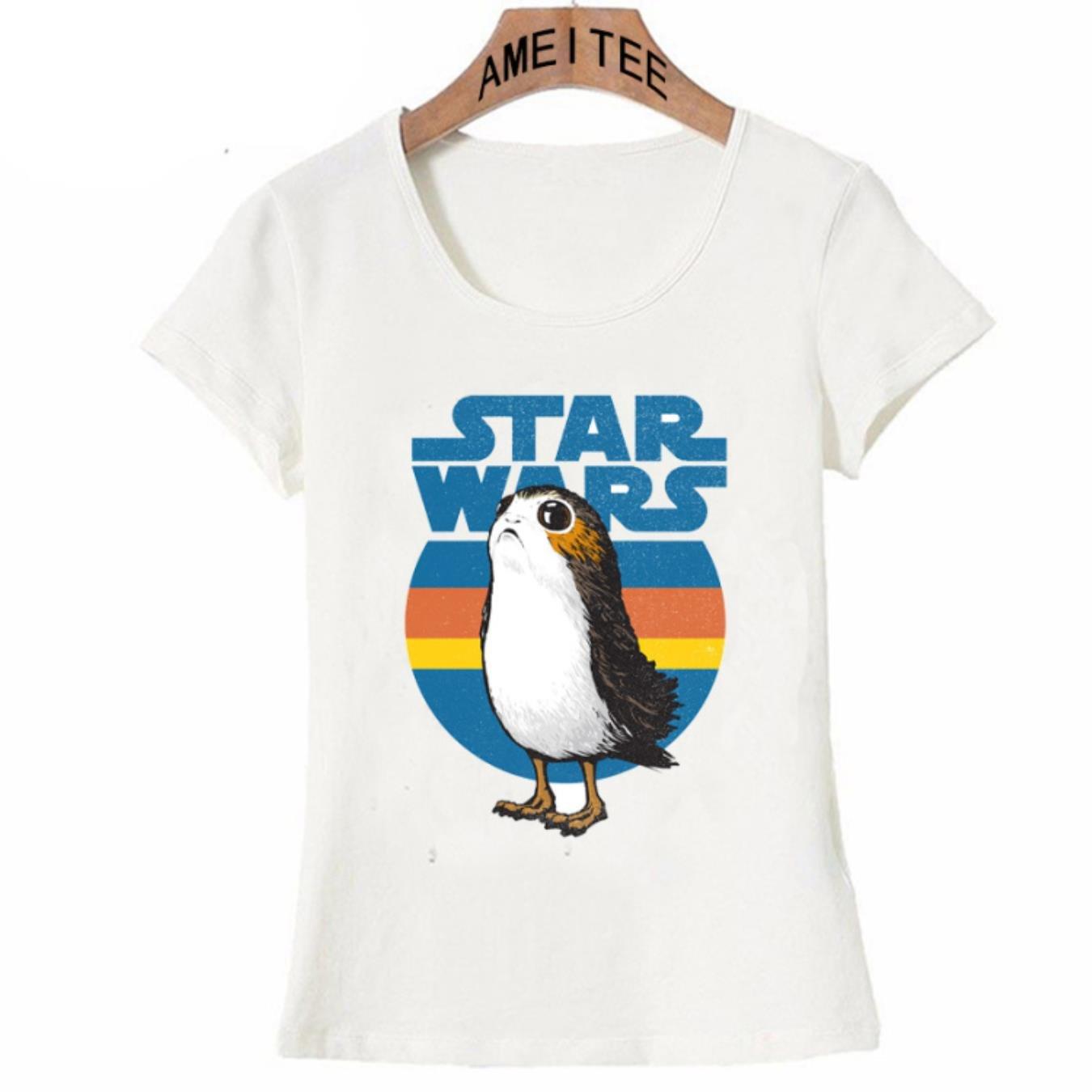 Vintage street girl T-Shirt Summer cute women t-shirt Star Wars Porg printing ladies Tops