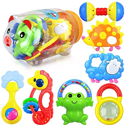 Baby Toy Rattle Infant Teether Puzzle Educational(10 Pieces) - 6