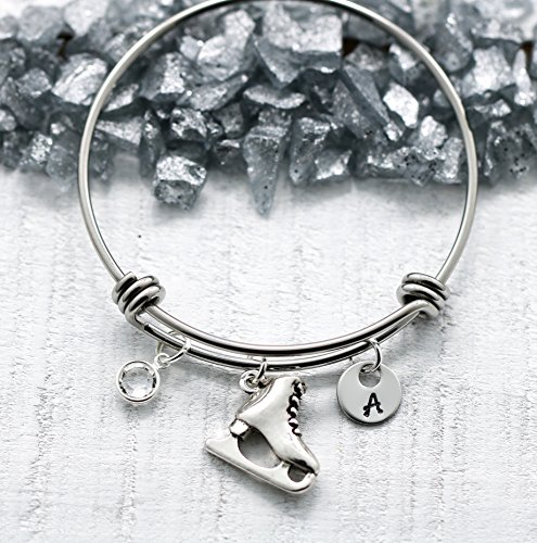 Ice skating Bracelet - Figure Skating Jewelry - Personalized Birthstone & Initial - Fast Shipping