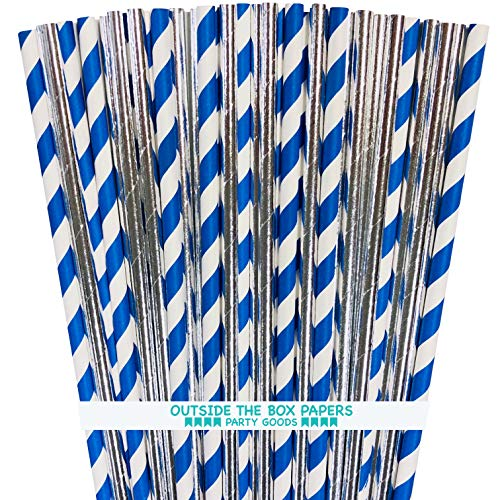 - Silver and Royal Blue Foil Paper Straws - Stripe and Solid - 100 Pack