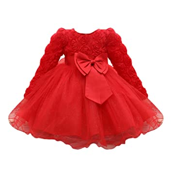 bebb1fca459a Feitong Flower Baby Girl Long Sleeved Tutu Princess Bridesmaid Pageant Gown  Birthday Party Wedding Dress