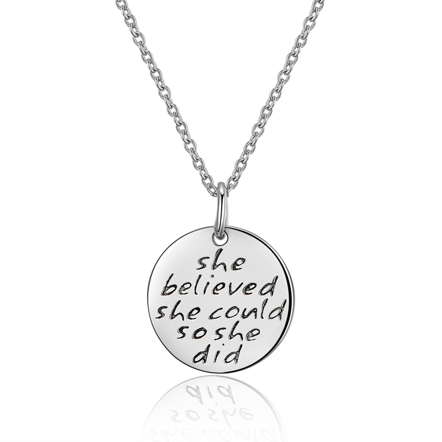 Annamate 925 Sterling Silver Engraved Message She believed she could so she did Inspirational Disc Necklace
