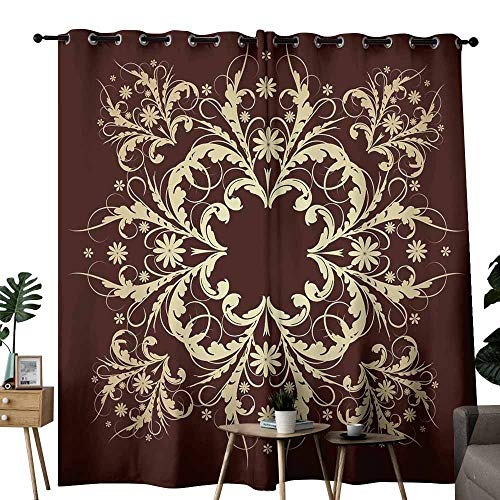 Acanthus 2 Light - duommhome Bedroom Curtain Gold Vintage Baroque Ornament Retro Pattern Antique Style Acanthus. 70%-80% Light Shading, 2 Panels,W96 x L108