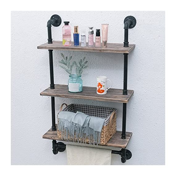 "Industrial Pipe Shelf,Rustic Wall Shelf with Towel Bar,24"" Towel Racks for Bathroom,3 Tiered Pipe Shelves Wood Shelf Shelving - 【Retro Style】:Iron pipes and reclaimed real wood composition in vintage style.Storage and decorations.It can also be used outdoors. 【Size】:Length24"" x Height41.73"" x Deep9.84"".Wood: Length24"" x Depth 9.84"" x Thickness 0.78''. 【Multi-functional】:The floating shelves are versatile, such as bathroom accessories, towel holder, bookcase, spice racks. - wall-shelves, living-room-furniture, living-room - 61CM39tuObL. SS570  -"