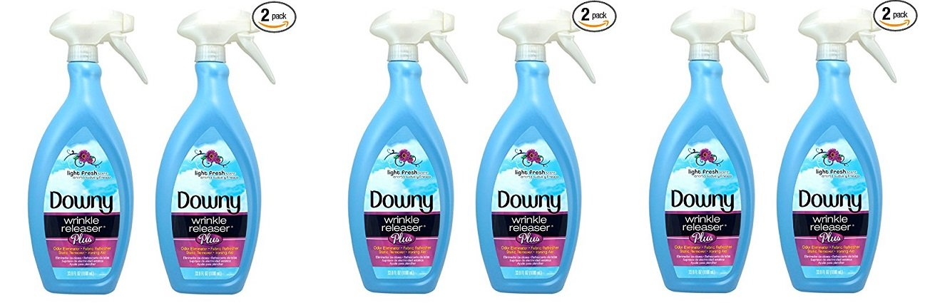 Downy Wrinkle Release Spray Plus, Static Remover, Odor Eliminator, Fabric Refresher and Ironing Aid, Light Fresh Scent, 33.8 Fluid Ounce (Pack of 2) (PACK OF 6)