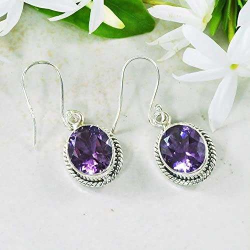 c1b075fbb Image Unavailable. Image not available for. Color: Sivalya 3.00 Ct Oval  Natural Purple Amethyst Earrings in 925 Oxidized Sterling Silver ...