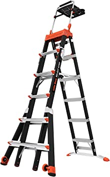 Poco gigante escalera sistemas 15131 – 001 seleccione paso 6 A 10 pies ajustable fibra de vidrio escalera: Amazon.es: Bricolaje y herramientas