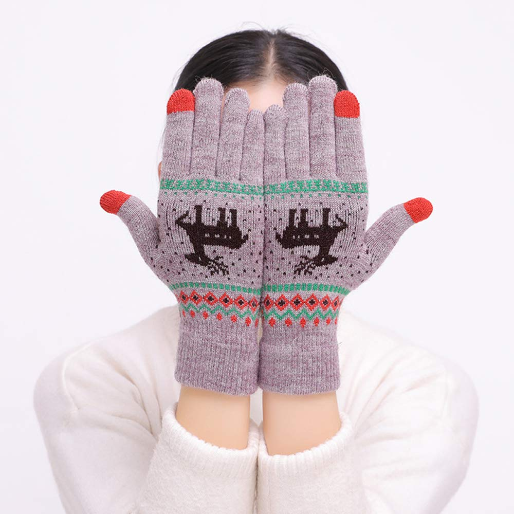 Womens Winter Touchscreen Gloves Cute Elk Deer Warm Thermal Soft Lining Elastic Cuff Texting Gloves
