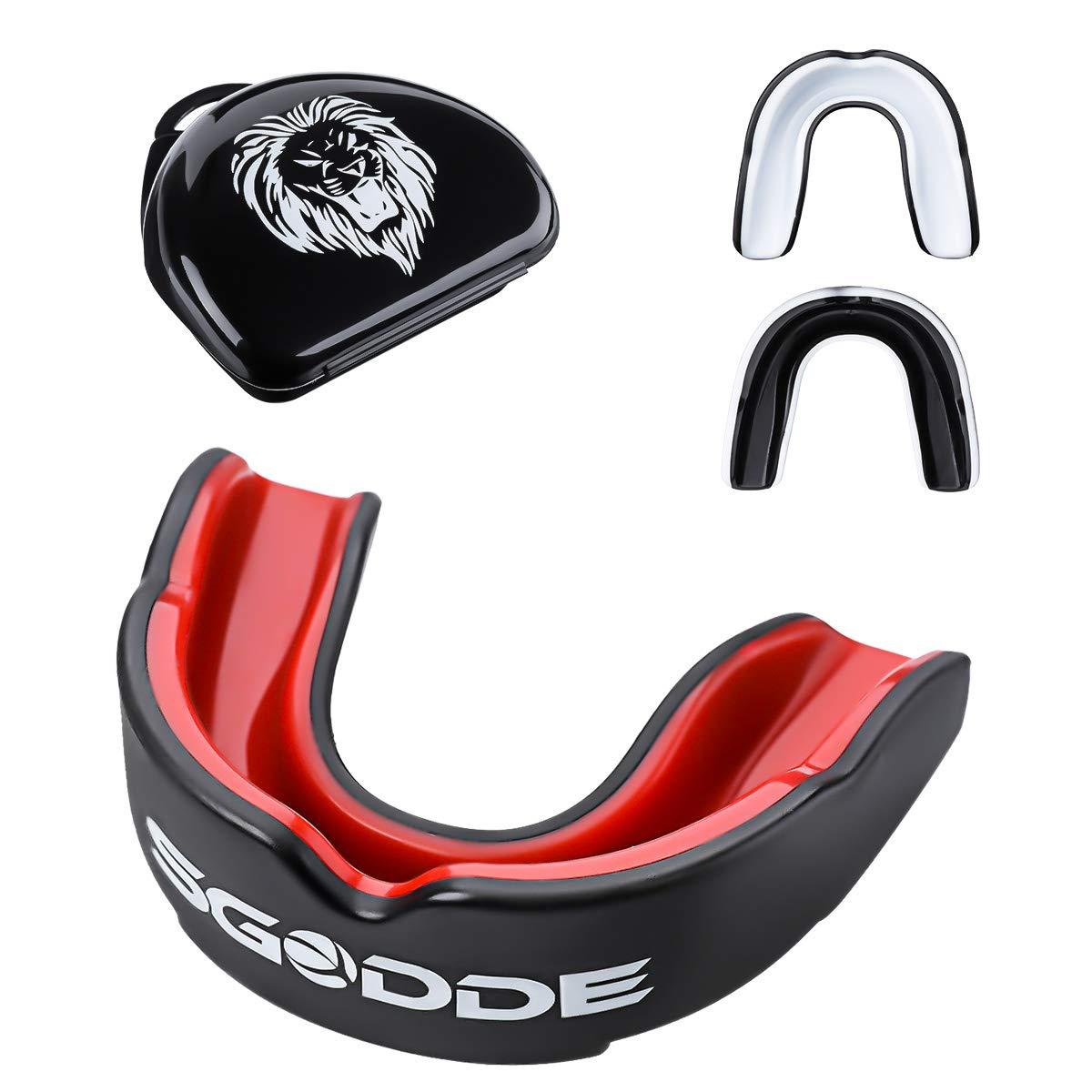 SGODDE Protector Bucal Boxeo, Deportivo Cubierta de Diente de Protección de Material EVA Adecuado para Boxeo, Taekwondo, Lucha Libre y Baloncesto etc.(Rojo)