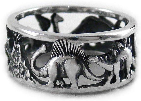Plata de ley Dinosaurios de banda anillo, plata de ley, 11, VL7637-11