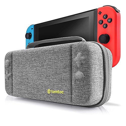 Nintendo Switch Case, Tomtoc Protective Hard Shell Travel Storage Carrying Case Cover Box with 18 Game Cartridges and Handle for Nintendo Switch Console and Accessories – New Arrival, Gray