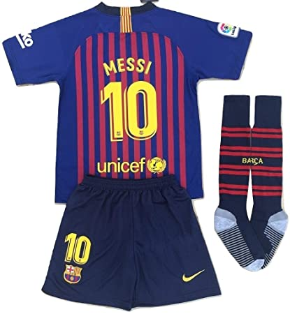 8741f233883 Messi #10 FC Barcelona 2018-2019 Youths Home Soccer Jersey & Socks Set (