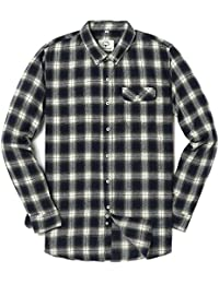 Men's Long Sleeve Flannel Plaid Checkered Button Down Casual Dress Shirts