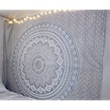 "Gray Ombre Tapestry by JaipurHandloom"" Mandala Tapestry, Queen, Multi Color Indian Mandala Wall Art, Hippie Wall Hanging, Bohemian Bedspread"