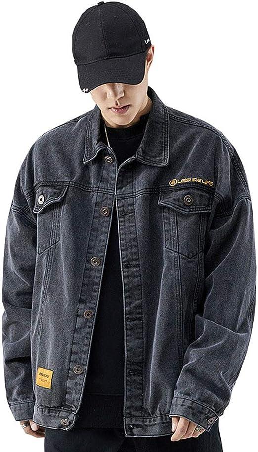 NOQINHOO メンズ デニムジャケット長袖 ルーズ アウター 大きいサイズ アウター ブルー ブラック S-3XL