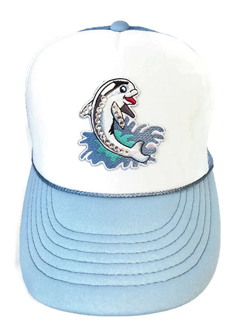 Lidsville Kids Hats Girls Snapback Trucker Happy Dolphin Bling Hat for Sun Protection Summer Beach wear White//Blue