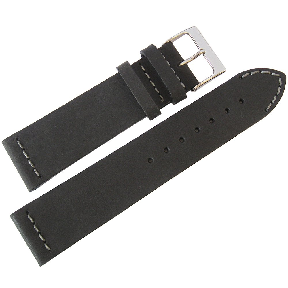 ColaReb 22mm Venezia Black Leather GREY Stitch Watch Strap Made in Italy