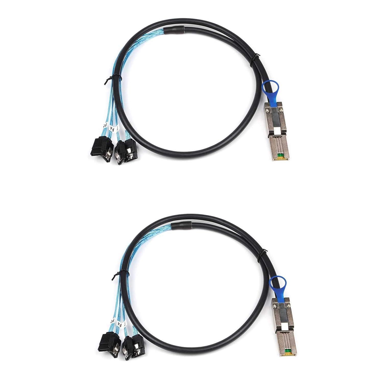Lot de 2 c/âbles Mini SAS 26P SFF 8088 m/âle vers 4 SATA femelle 7 broches avec loquet contr/ôleur h/ôte Mini SAS vers 4 cibles SATA