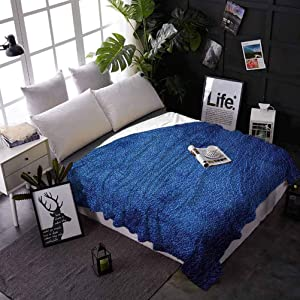 Bed Blankets Navy Blue Custom Blanket for Couch Bed Sofa Martian Alien Skin Like Dark Blue Contemporary Interesting Space Design Art Print 50 x 70 Inches Dark Blue