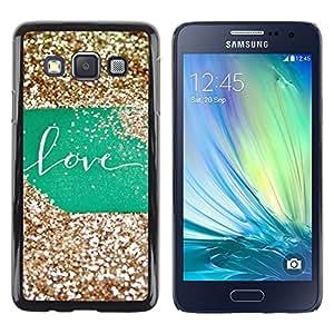 iKiki Tech / Estuche rígido - Glitter Green Sign Gold Sweet - Samsung Galaxy A3 SM-A300
