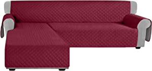 Granbest Sofa Covers for L Shape Sofa Reversible Sectional Couch Covers Chaise Lounge Sofa Sip Cover for Dogs Pets Non Slip Furniture Protector with Foams Sticks (Large, Wine Red)