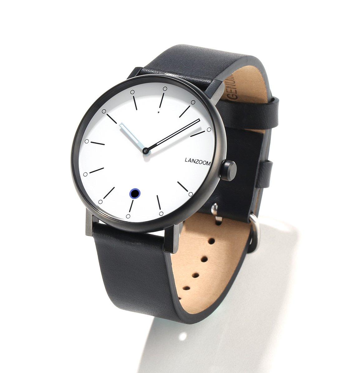 LANZOOM Rhine41-12-1L Business Classic Luxury Sport Quartz Bluetooth Smart Wrist Watch Light Hybrid Sports Fitness Multifunctional Smartwatches For Men Women (White + Black)