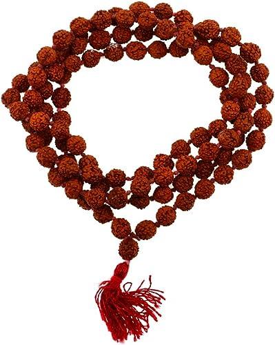 Mandala Crafts Tibetan 108 Shiva Yoga Red String Knotted Rudraksha Seeds Mala (Red Tassel Knotted)