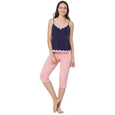 b330ef6cd Velvet by night Navy Blue Modal Sleeveless Solid Top   Capri Set for Women   Amazon.in  Clothing   Accessories