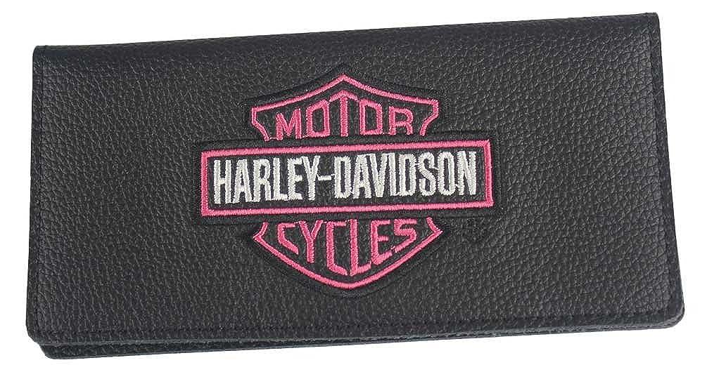 Harley-Davidson Womens Embroidered B&S Checkbook Cover, Black ZWL7183-PNKBLK MTMB Inc
