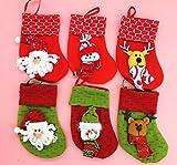 Money coming shop 6 Pcs new year Indoor Mini hanging stockings Christmas decoration Santa Claus doll Christmas gift bag
