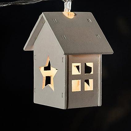 10 leds warm white led light string christmas tree decorative lights wood house led string light