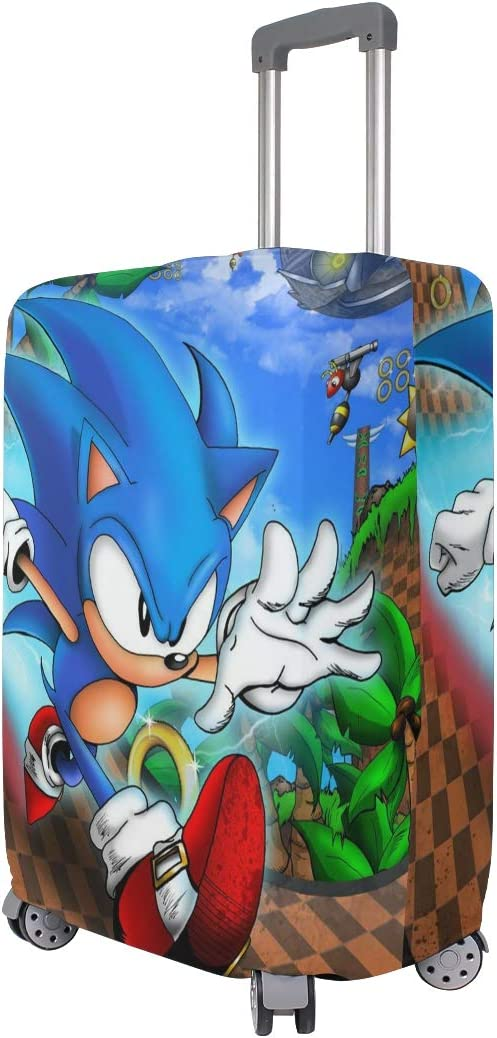 Sonic Cartoon The Hedgehog Official Poster Travel Luggage Cover Suitcase Protector Fits 26-28 Inch Washable Baggage Covers