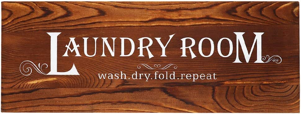 Homanga Vintage Laundry Room Wall Art, 6x16 Inch Rustic Laundry Rules Wood Sign, Laundry Room Decor, Farmhouse Style Home Decor Plaque