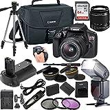 Canon EOS Rebel T6 DSLR Camera w/ 18-55mm Lens + LCD Display TTL SpeedLight Flash + Power Grip + 64GB Memory + Canon Case + Tripod + Remote + More - Professional Bundle